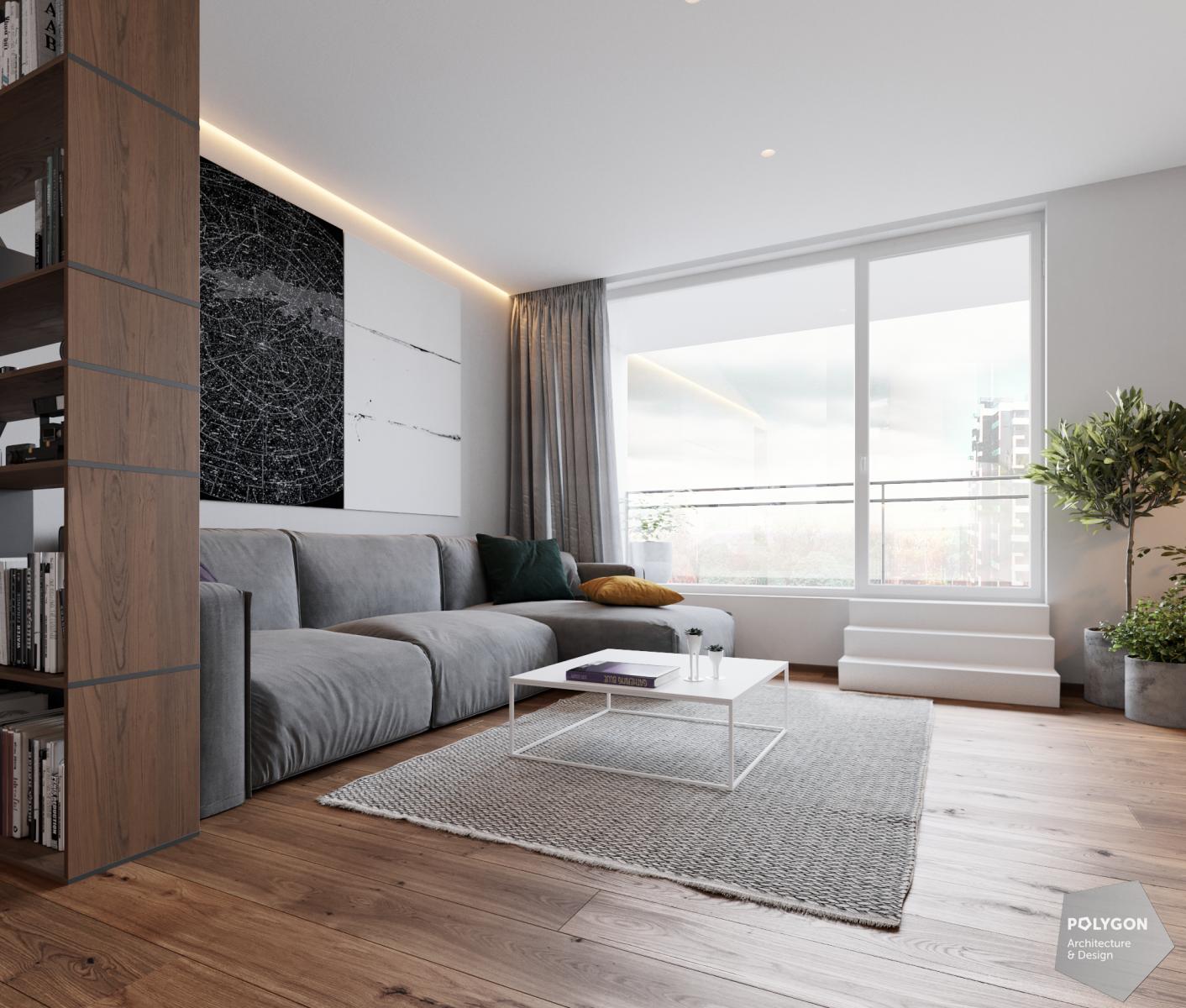 візуалізація інтер'єр вітальні у #brody_apartment від Polygon