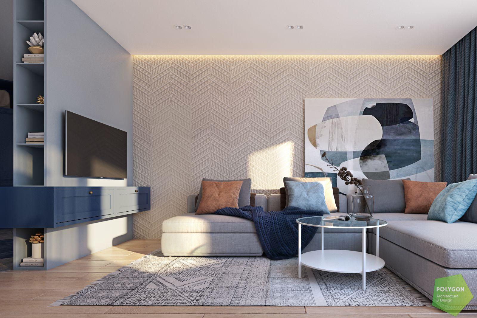 візуалізація вітальні у #sea_house від polygon