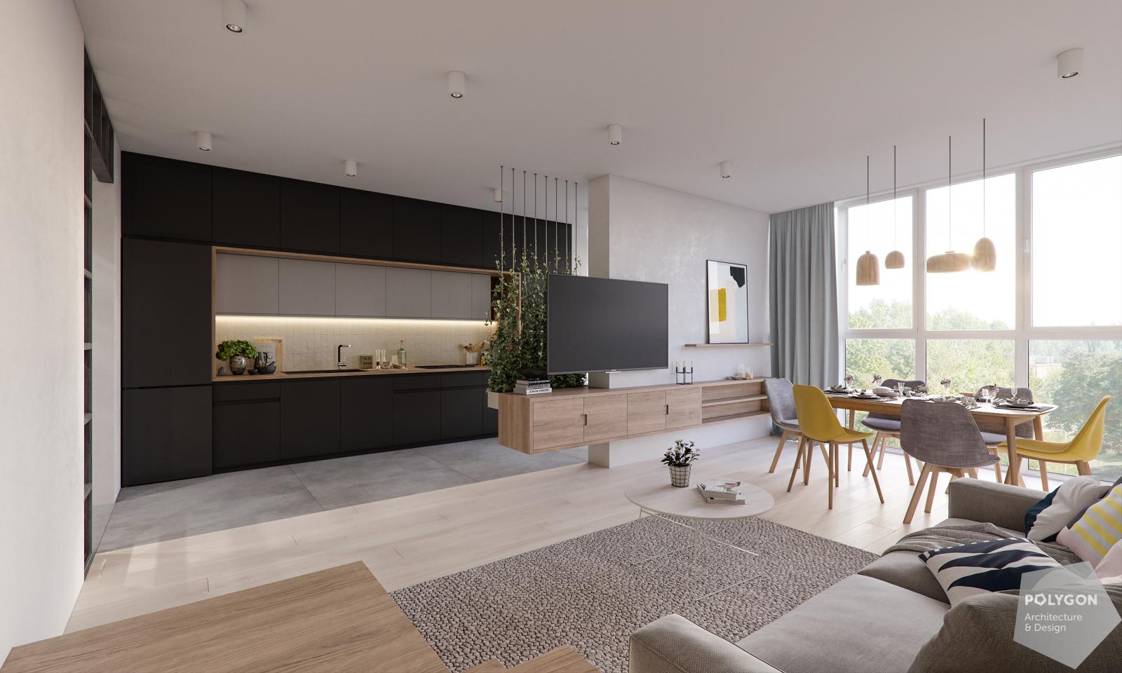 візуалізація вітальні та кухні