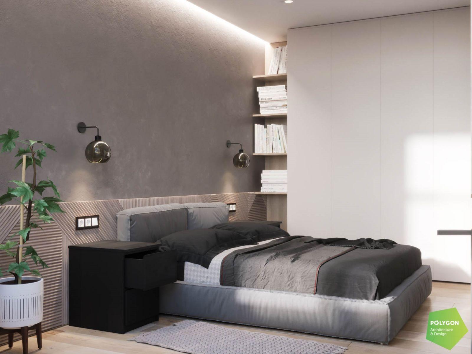 візуалізація спальні в одному з проєків дизайнерки