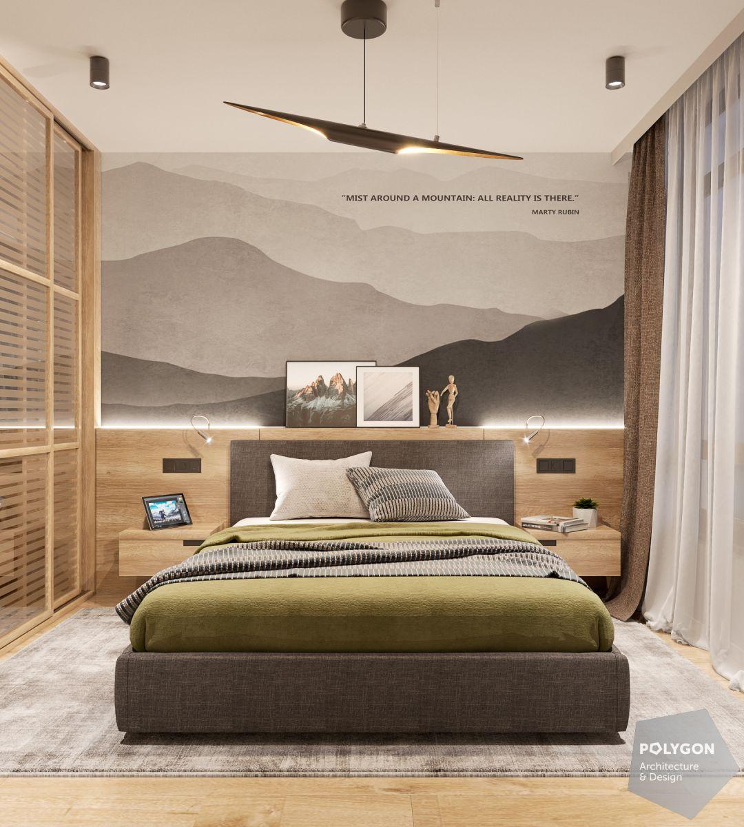 Візуалізація спальні у проекті «Сучасний інтер'єр квартири: Shcherb`yak flat»