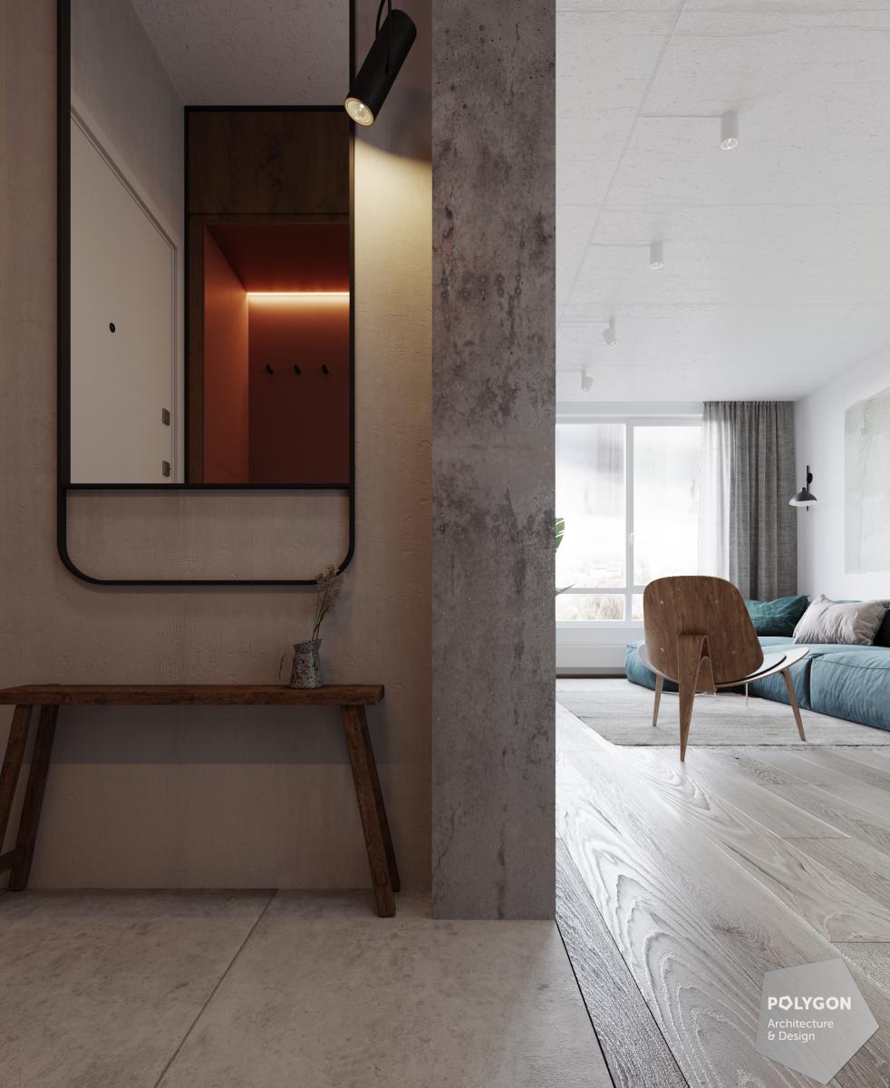 візуалізація інтер'єру коридора у #love_apartment від polygon