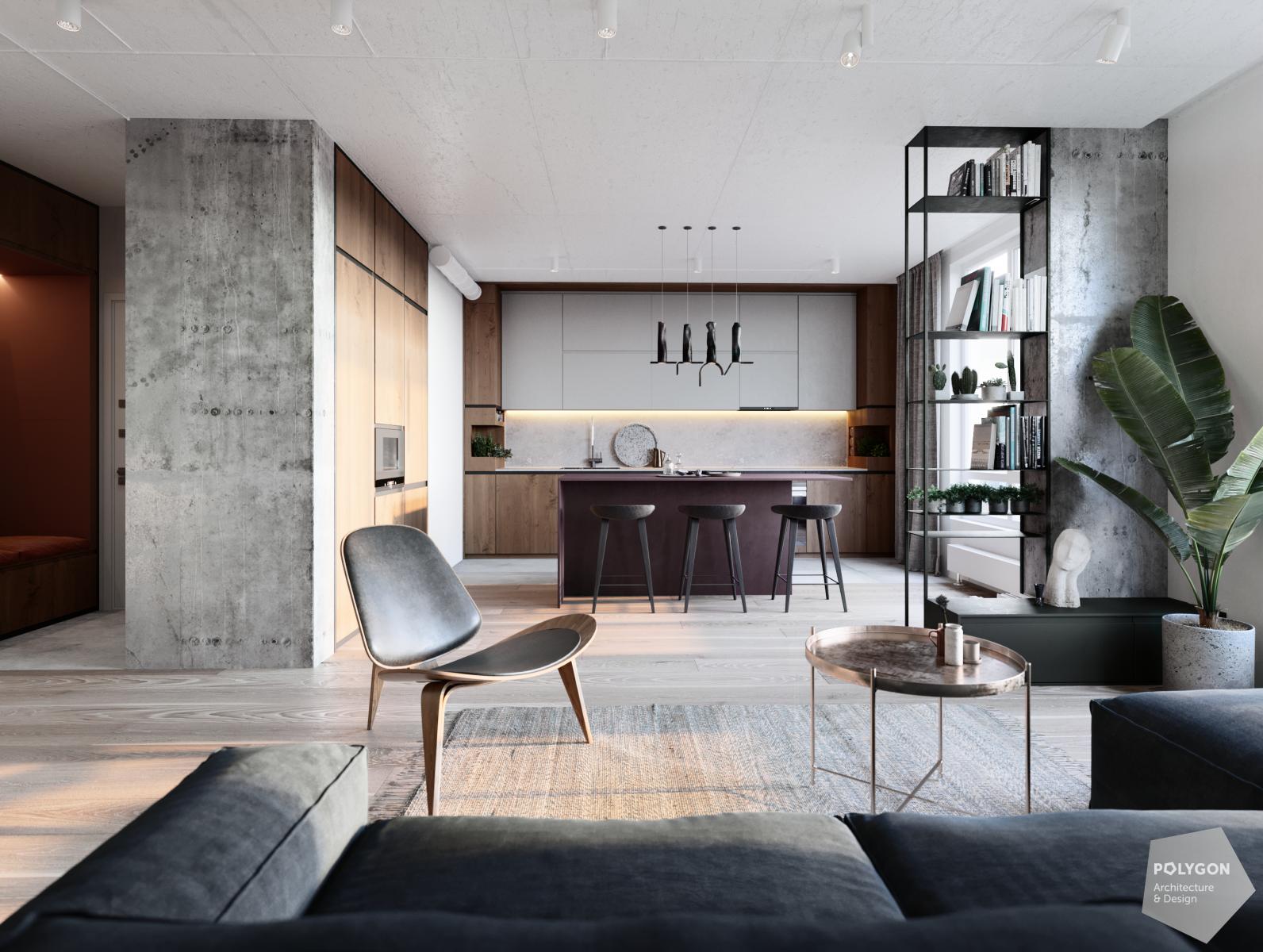 візуалізація інтер'єру вітальні у #love_apartment від polygon