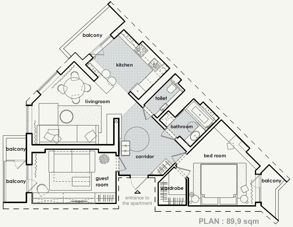 план розташування меблів у #sea_house від polygon