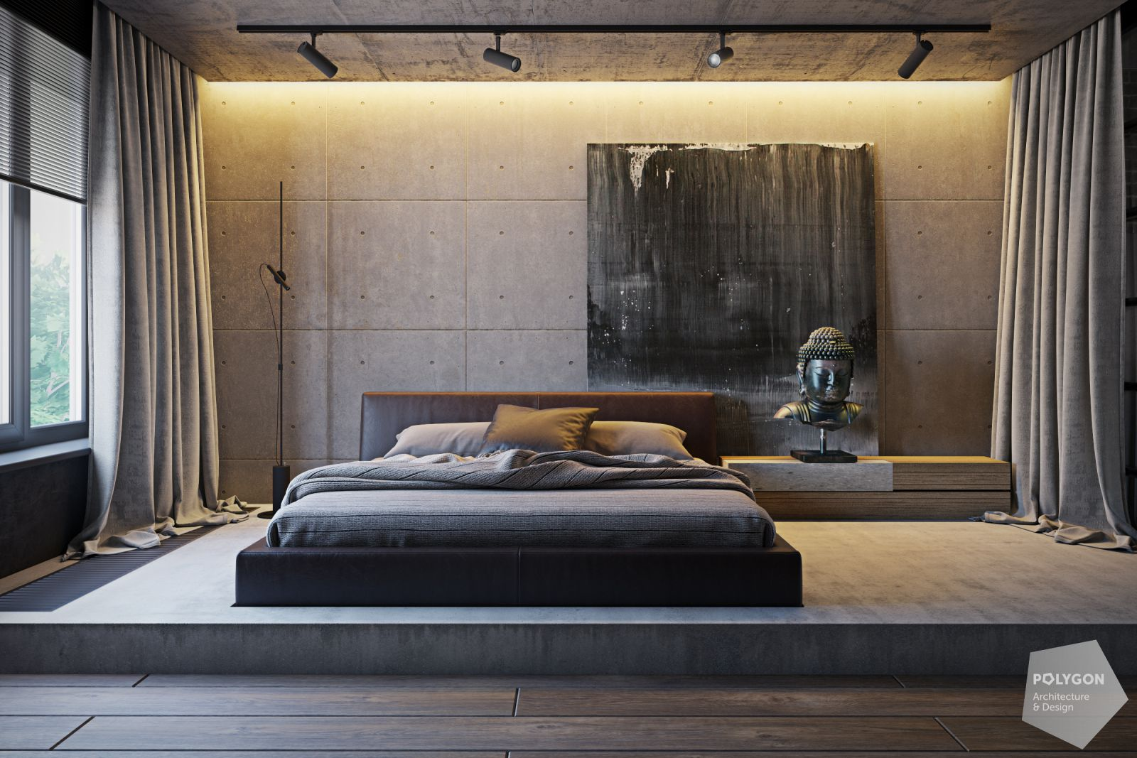 Візуалізація спальні у проекті «Дизайн лофт: Vinnutsia apartment»