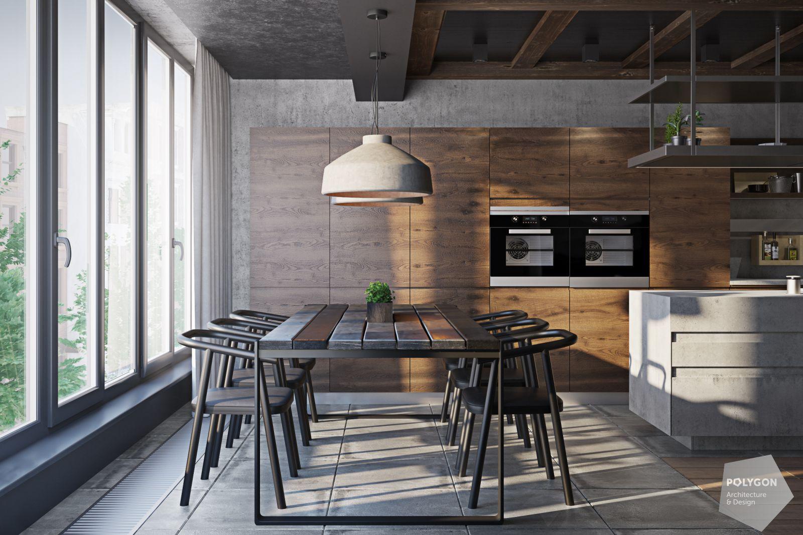 Візуалізація обідньої зони у проекті «Дизайн лофт: Vinnutsia apartment»