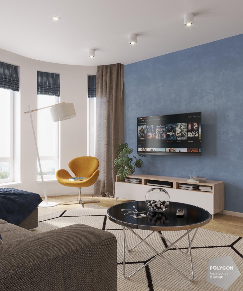 Візуалізація вітальні у проекті «Інтер'єр у скандинавському стилі: Fine house»