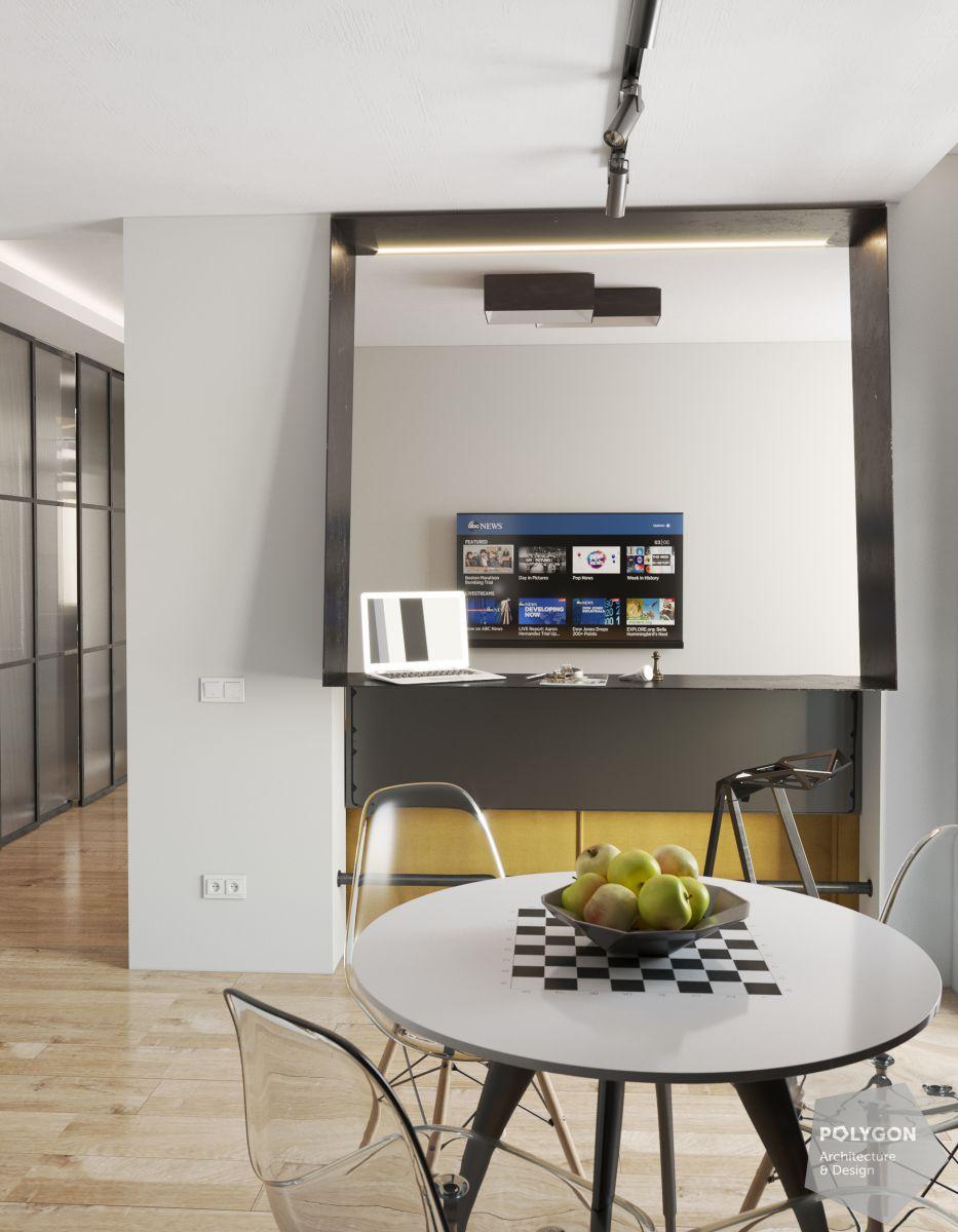 Візуалізація кухні у проекті «Cучасний інтер'єр квартири: Shcherb`yak flat»
